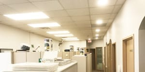 Image of a commercial LED lighting upgrade in a dental office