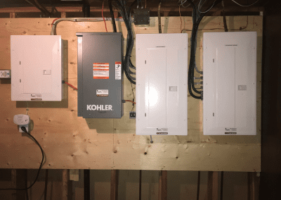 Image of an Essential Systems Generator Double Electrical Panel and Transfer Switch Set Up With Clean Volt Surge Protector